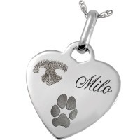 Sterling Silver Heart Pendant Nose & Paw Prints Pet ...