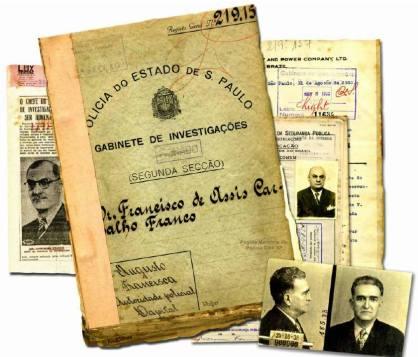 Prontuário da segunda secçaõ de policial, na década de 30. No canto direito baixo, fotos do Delegado Thyrso Queirolo Martins de Souza , Chefe de Polícia do Estado de São Paulo durante a revolução de 1932.