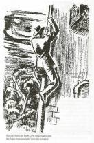 """Gravura publicada no Jornal Diário da Noite de 2 de abril e 1.952, ilustrando uma das fugas impossíveis da polícia, do Gino Amleto Meneghetti """"O Gato dos Telhados"""""""