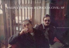 """Investigadores de Polícia da Delegacia de Roubos do DEIC, Rui Frederico """"Rui Piteira, in memorian"""" e Buttes, final da década de 70."""