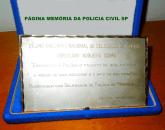 Décimo Encontro Nacional de Delegados de Polícia Coriolano Nogueira Cobra. Entregue ao Delegado coriolano Nogueira Cobra, pelos Delegados de Polícia de Pernambuco, em 25 de outubro de 1.980. (Cedido gentilmente pela filha Dona Teresa Cobra).