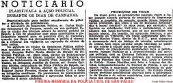 Publicação em Diário Oficial, sobre a planificação a ação policial durante o carnaval, com a participação do Delegado Geral de Polícia Coriolano Nogueira Cobra, na década de 60.