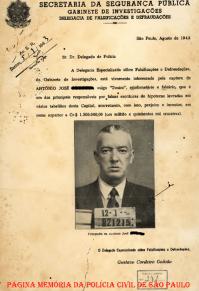 Prontuário de investigado, da Delegacia Especializada sobre Falsificações e Defraudações, do antigo GI- Gabinete de Investigações (Atual DEIC), de agosto de 1.943.