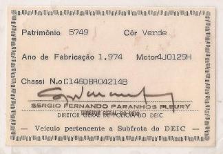 Cartão de viatura descaracterizada, na década de 70/80.