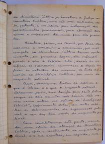 página 5 do manuscrito do Livro Investigação Policial do Delegado de Polícia Coriolano Nogueira Cobra, (enviada pelo Dr. Miguel Voigt Jr.)