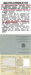 Salvo Conduto, documento obrigatório para viajar, em 1.944.