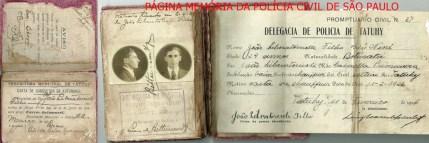Carta de Condutor de Automóvel (atual CNH) e prontuário civil, expedido pelo Delegado de Polícia Luiz de Bittencourt Titular do Município de Tatuí/SP, em 11 de fevereiro de 1.926.