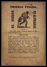 Curioso panfleto sobre recompensa para a prisão de escravo fugitivo, em 1.854.