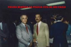 Delegado Cláudio Gobetti e o Repórter Policial Percival de Souza, na década de 80.