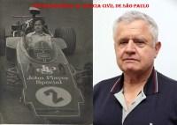 Delegado de Polícia Carlos Alberto Marchi de Queiroz, durante preparativos do GP do Brasil de Fórmula 1. Em 23 de março de 1973, no Aeroporto Internacional de Viracopos, dentro do cockpit da Lotus número 2, do corredor sueco Ronnie Peterson, que acabara de ser desembarcada de um avião cargueiro Britannia. A outra foto, é uma atual com o Dr. Marchi Queiroz.