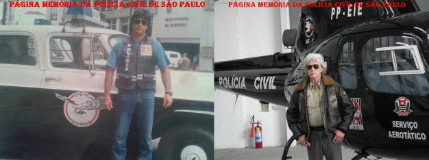 """Investigador Antonio Fernandes Martins """"Rambo"""", na década de 70 em uma viatura do GARRA e recente foto com o helicóptero """"Pelicano"""" do SAT- Serviço Aerotático do DEIC."""