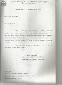 Elogio aprovado por unanimidade dos votos dos Vereadores, da Câmara Municipal da Estância de Serra Negra ao Delegado de Polícia Paulo Roberto de Queiroz Motta, em 1.995.
