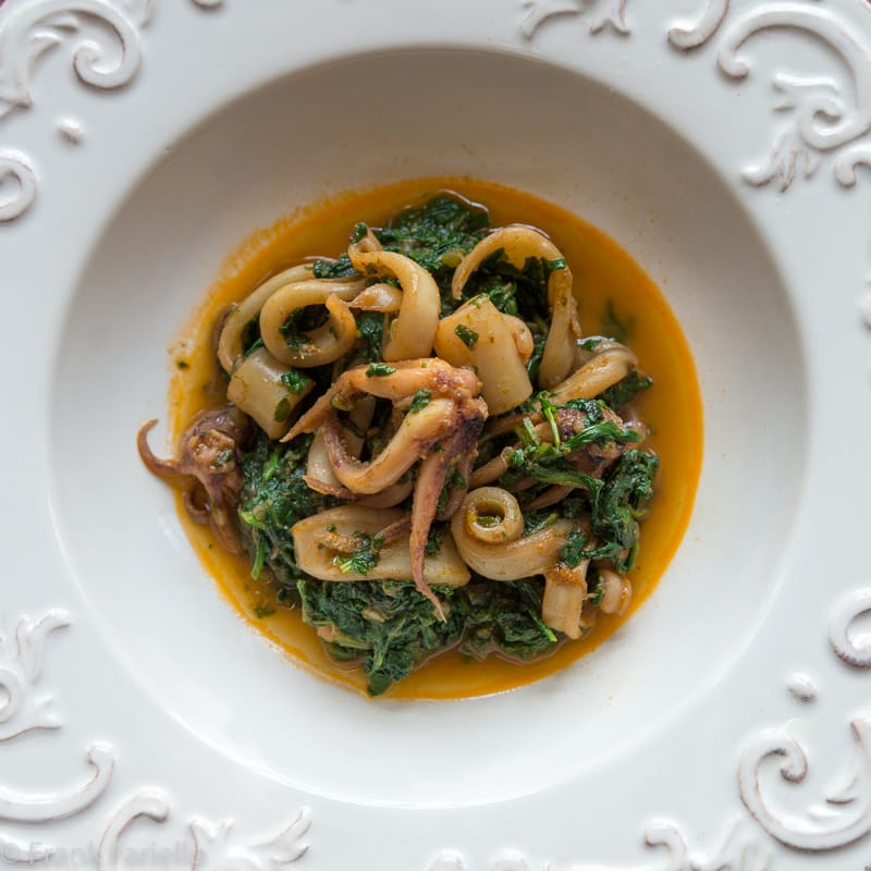 Calamari in zimino (Squid Braised in Greens)