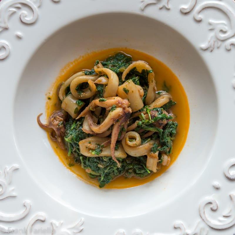 Calamari in zimino (Squid Braised in Greens)