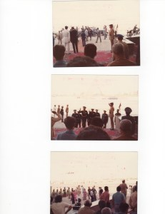 top photo Sadat arrives with bodyguards. middle photo Sadat waves to crowd. Bottom Jihan Sadat arrives followed by lady in waiting