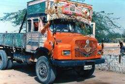 Colourful, decorated Indian trucks