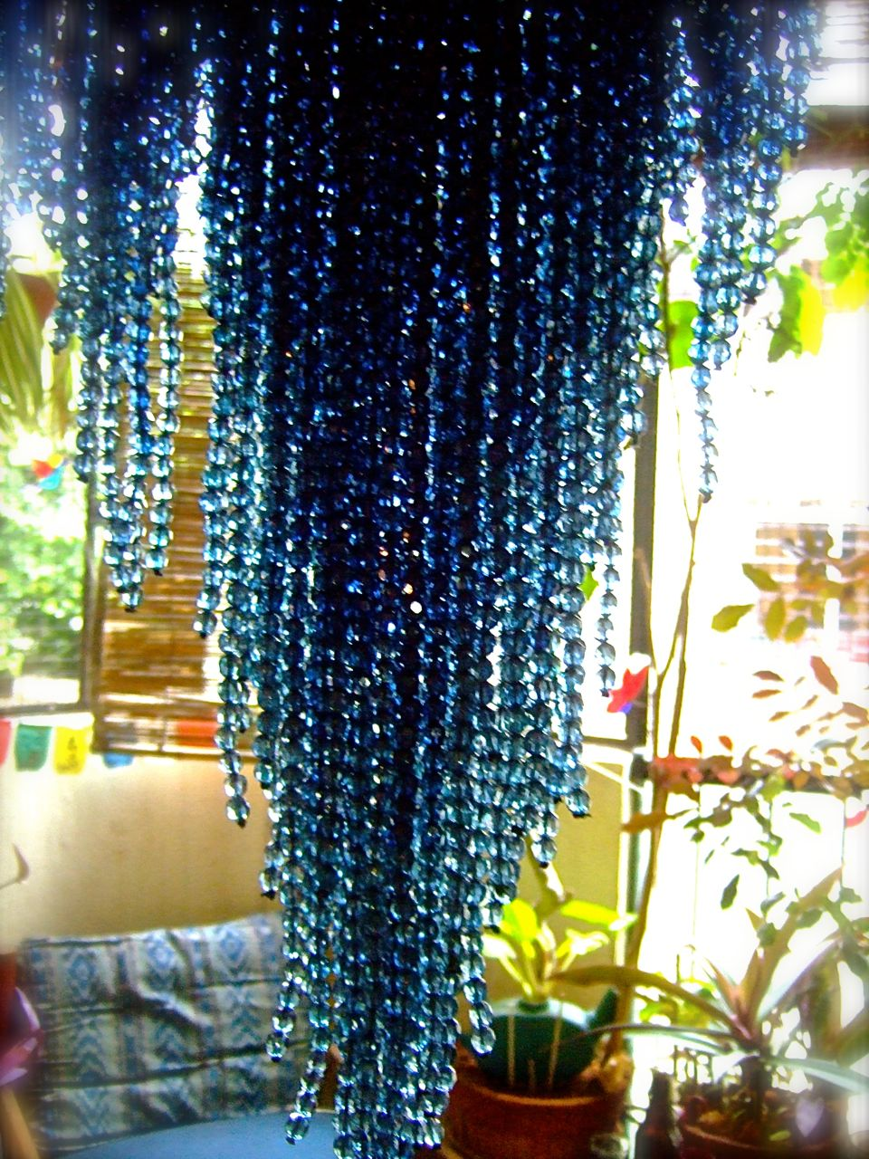 Blue Ombre Acrylic Crystal Handkerchief Base Bead Curtain  Memories of a Butterfly