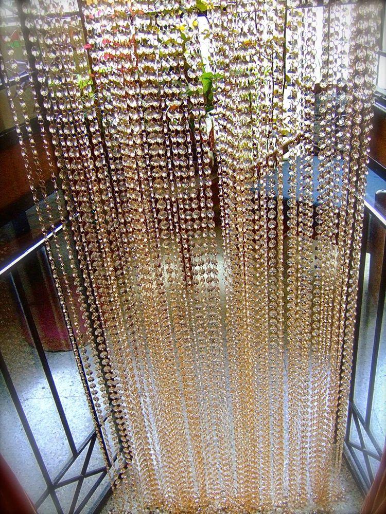 Hexagonal Acrylic Crystal OffWhite Bead Curtain