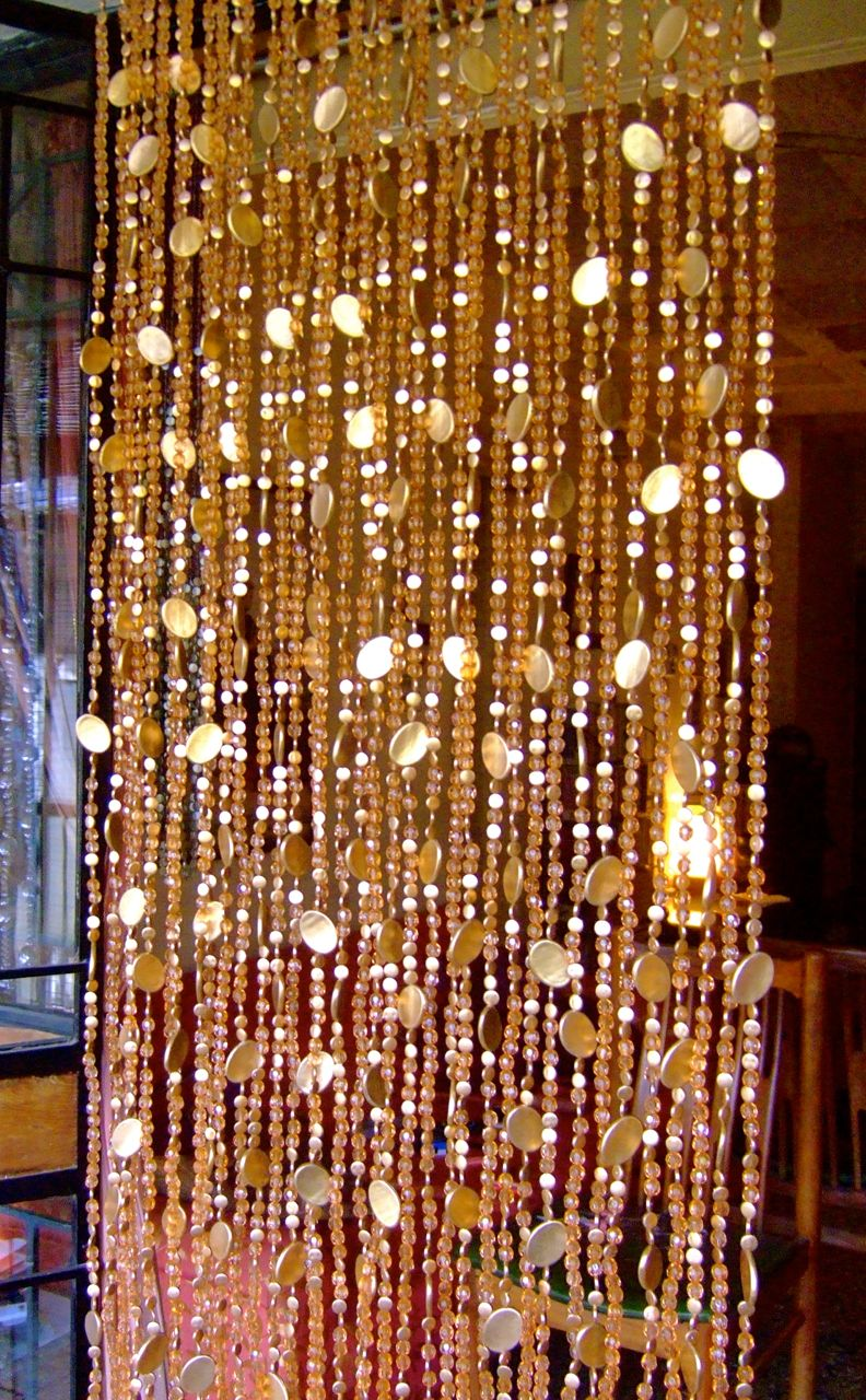 New Champagne Acrylic Crystal Gold Disc Bead Curtain