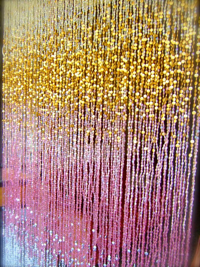 Antique Ombre Pink Silver Gold Beaded Curtain  Ready Made Collection  Memories of a Butterfly