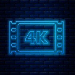 neon line icon glowing frame tape 4k movie brick isolated