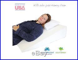 medslant big acid reflux wedge pillow 32x30x7 memory foam overlay gerd sleep