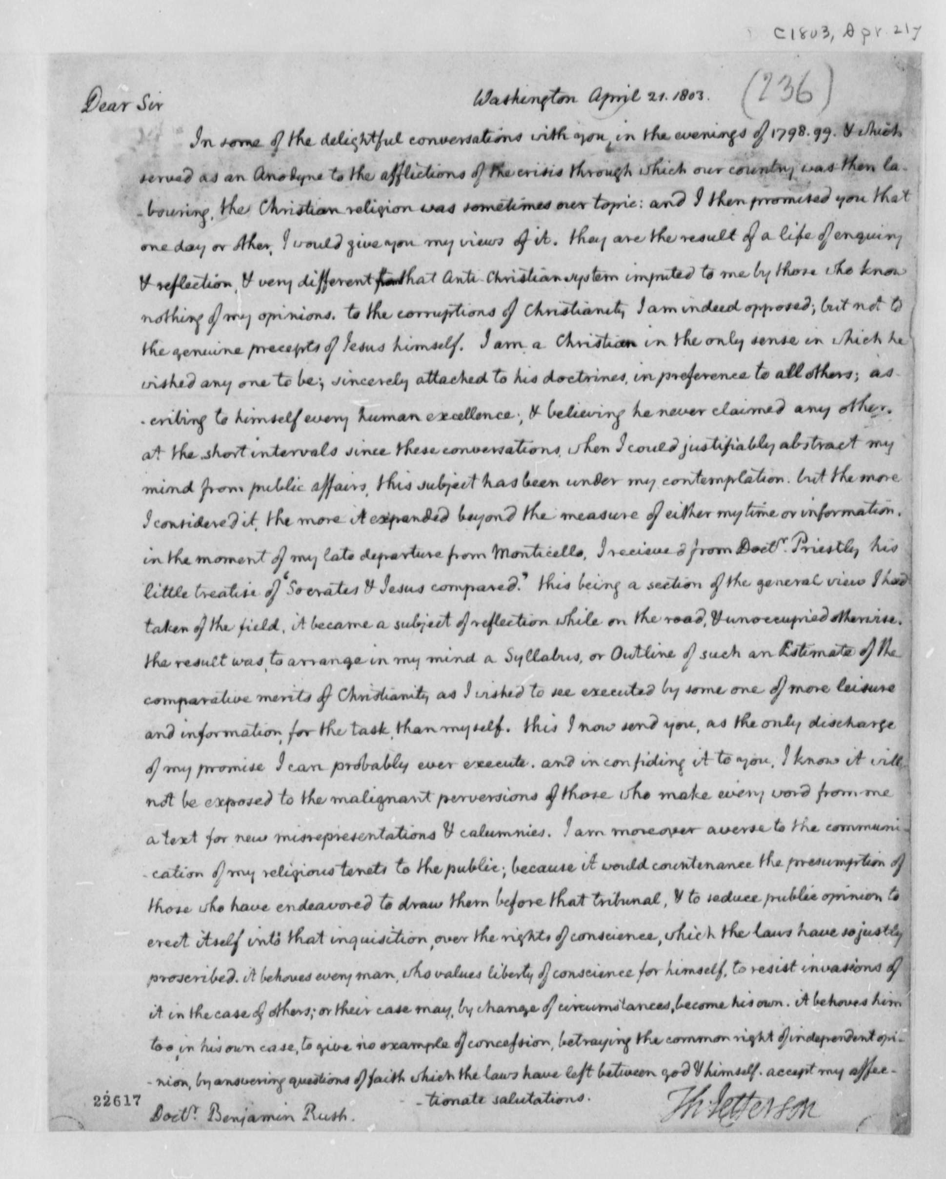 Letter from Thomas Jefferson to Benjamin Rush