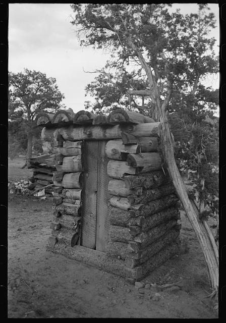 Log privy on homesteaders farm.  June 1940