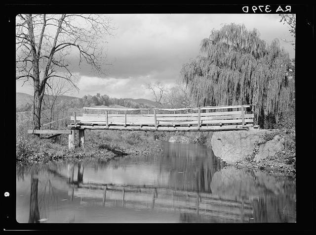 Low bridge across Hughes River at the foot of the Blue Ridge Mountains. Nethers. Shenandoah National Park, Virginia.  October 1935