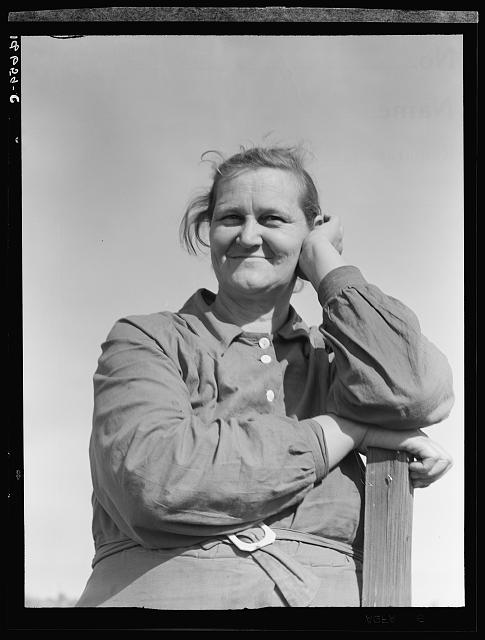 Arkansas mother come to California for a new start, with husband and eleven children. Now a rural rehabilitation client. Tulare County, California.  November 1938.
