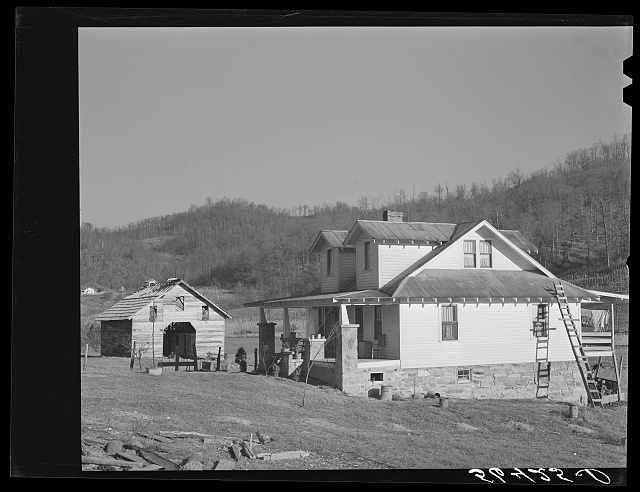 Josh Calahans new home and new barn. Southern Appalachian Project near Barbourville, Knox County, Kentucky.  November 1940.  Marion Post Wolcott, photographer.