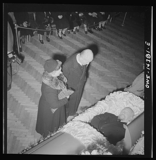 New York, New York. Mourners at the funeral of Carlo Tresca, the Italian anarchist publisher of Il Martello, who was murdered on Fifth Avenue. The funeral was held in Manhattan Center and was attended by over 5000 anti-facists.  January 1943