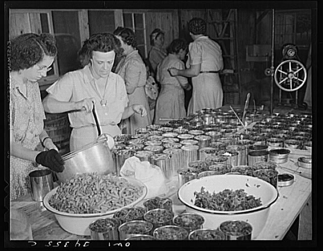 Jeffersontown, Kentucky. The Jefferson County community cannery, started by the WPA, now conducted by the state (?) vocational education department. Women pay three cents each for cans and two cents per can for use of the pressure cooker. Canning beans and greens raised in a victory garden, June 1943; Howard R. Hollem, photographer.