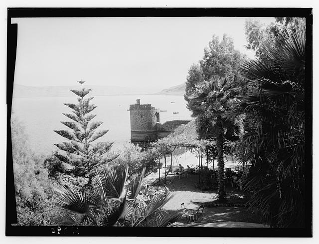 Galilee. Tiberias. The Lido Terrace showing ancient crusader tower, between 1940 and 1946.  Matson Photo Service (Library of Congress)