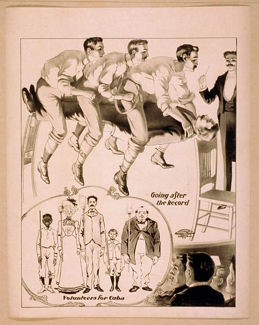 Hypnotist directing a group of people to do unusual things: men pretending to race while seated on man suspended between two chairs and audience volunteering for military duty with brooms as rifles.  Cincinnati ; New York : U.S. Printing Co., c1900