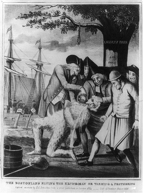 Print shows a mob pouring tea into the mouth of a Loyalist who has been tarred and feathered. Behind the group, on the right, is the Liberty Tree from which hangs a noose and a sign Stamp Act written upside down; on the left, revolutionaries on a ship pouring crates of tea into the water.  Copied on stone by D. C. Johnston from a print published in London 1774, published Boston : Pendleton, 1830