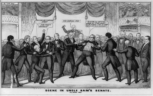 A somewhat tongue-in-cheek dramatization of the moment during the heated debate in the Senate over the admission of California as a free state when Mississippi senator Henry S. Foote drew a pistol on Thomas Hart Benton of Missouri. In the cartoon Benton (center) throws open his coat and defiantly states, Get out of the way, and let the assassin fire! let the scoundrel use his weapon! I have no arms! I did not come here to assassinate! He is attended by two men, one of them North Carolina senator Willie P. Mangum (on the left). Foote, restrained from behind by South Carolinas Andrew Pickens Butler and calmed by Daniel Stevens Dickinson of New York (to whom he later handed over the pistol), still aims his weapon at Benton saying, I only meant to defend myself! In the background Vice President Fillmore, presiding, wields his gavel and calls for order. Behind Foote another senator cries, For Gods sake Gentlemen Order! To the right of Benton stand Henry Clay and (far right) Daniel Webster. Clay puns, Its a ridiculous matter, I apprehend there is no danger on foot! Visitors in the galleries flee in panic.