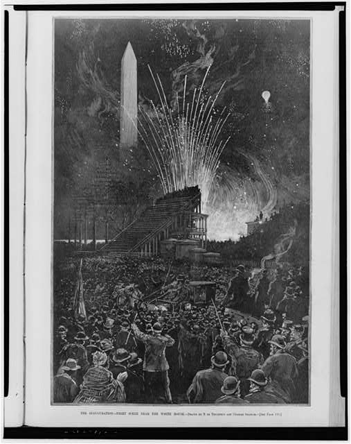 The inauguration of Grover Cleveland, 22nd President of the United States (1885 - 1889) - night scene near the White House / Drawn by T. de Thulstrup and Charles Graham (1885)