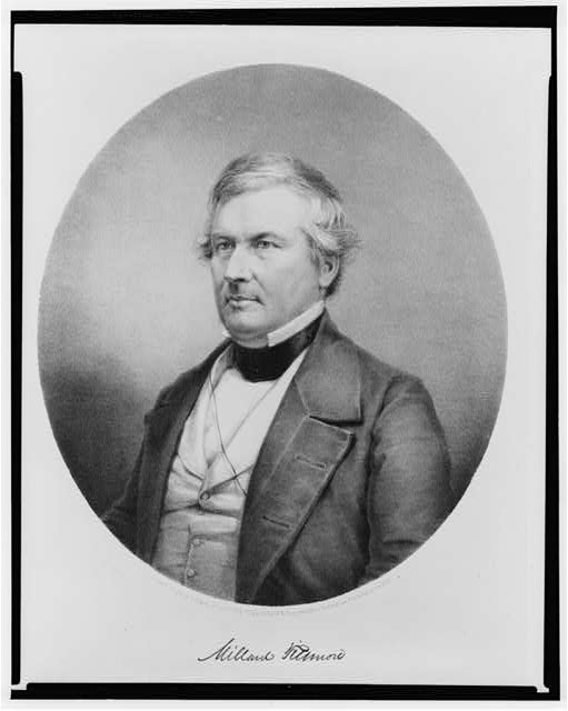 Millard Fillmore in an 1850 lithograph by Francis DAvignon after a photograph by Matthew Brady (unclear if this was before or after his ascending to the presidency) - Library of Congress image