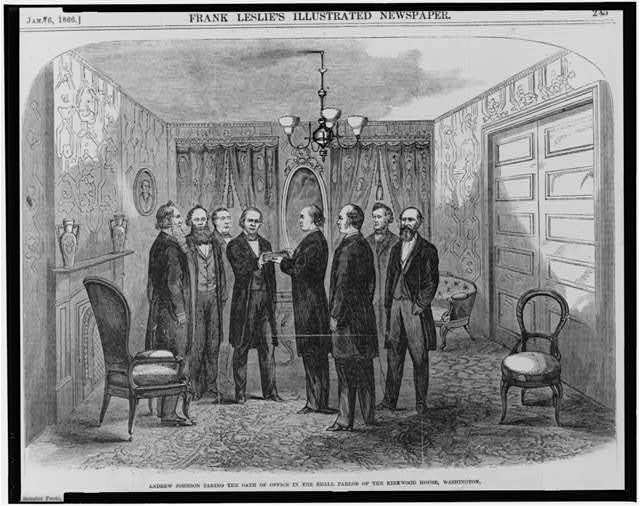 Andrew Johnson taking the oath of office in the small parlor of the Kirkwood House (Hotel), Washington, April 15, 1865.  Illus. in: Frank Leslies illustrated newspaper, v. 21, 1866 Jan. 6