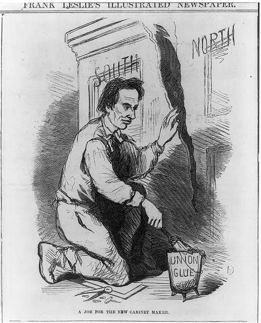 Pres. Lincoln using Union glue to repair cabinet split into North and South.