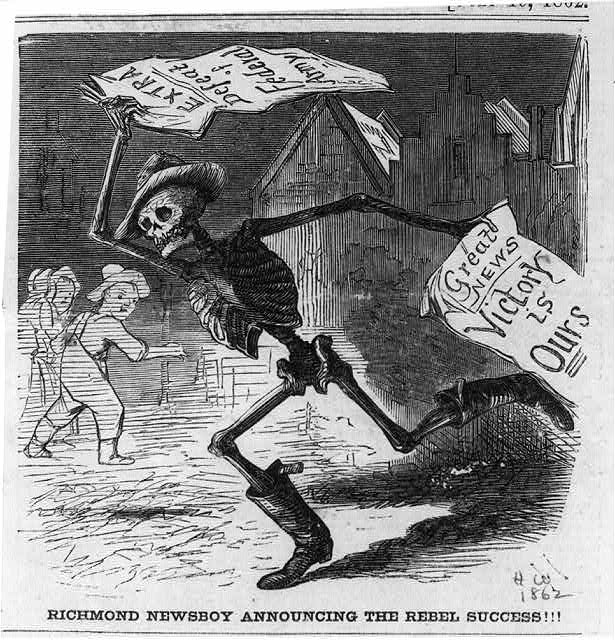 Death as skeleton running and carrying newspapers announcing defeat of Federal Army.  Illus. in Harpers Weekly, 1862.  (Library of Congress)