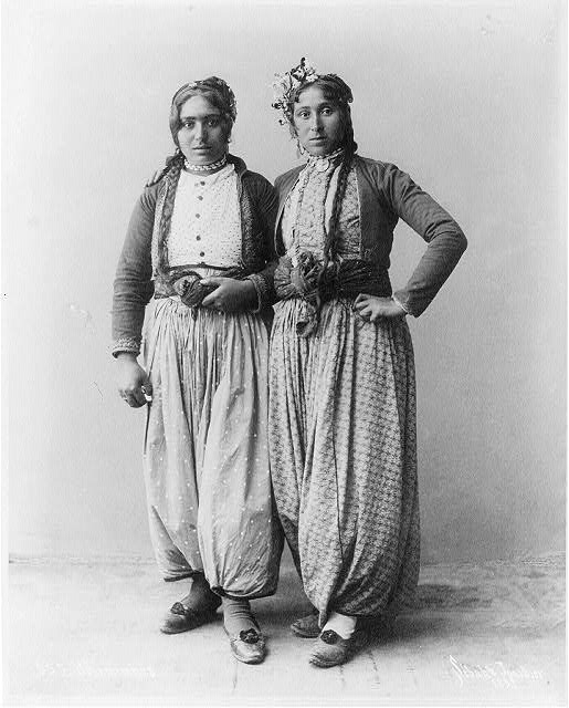 Two gypsy women, Palestine, c.1893.  Photograph by Sebah and Joaillier.  (Library of Congress)