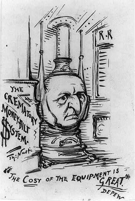 Chauncey M. Depew, President of the New York Central Railroad Company (and close personal friend of Jay Gould) caricatured as a railroad cart stove (published 1891 Apr. 4)