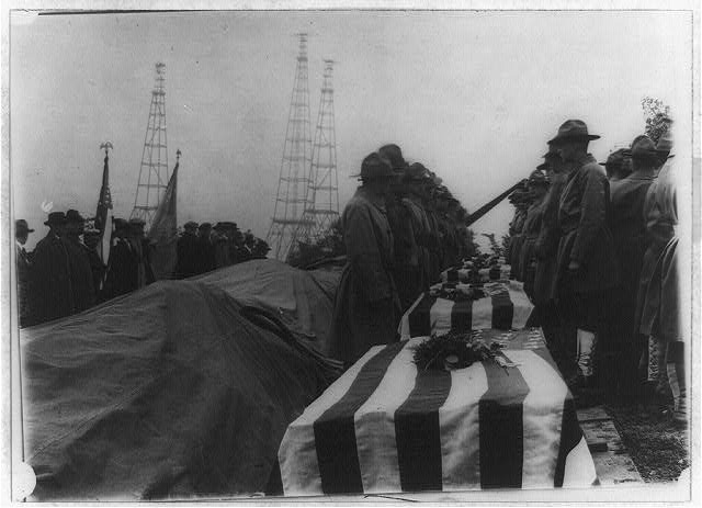 Scene at Arlington National Cemetery at the burial of returned bodies of the AEF from France, WWI