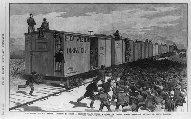 The great railway strike--attempt to start a freight train, under a guard of United States marshals, at East St. Louis, Illinois / from a sketch by G. J. Nebinger.  1886
