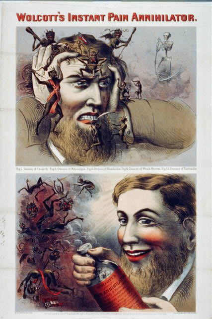 Suffering man beset by demons; banishes them with Wolcotts formula.  c1863.  (Library of Congress)