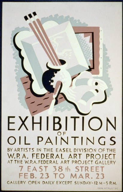 Poster for exhibition of oil paintings at the W.P.A. Federal Art Project Gallery, 7 East 38th Street, New York City, New York, between 1936 and 1941.  Richard Floethe, artist.  (Library of Congress)