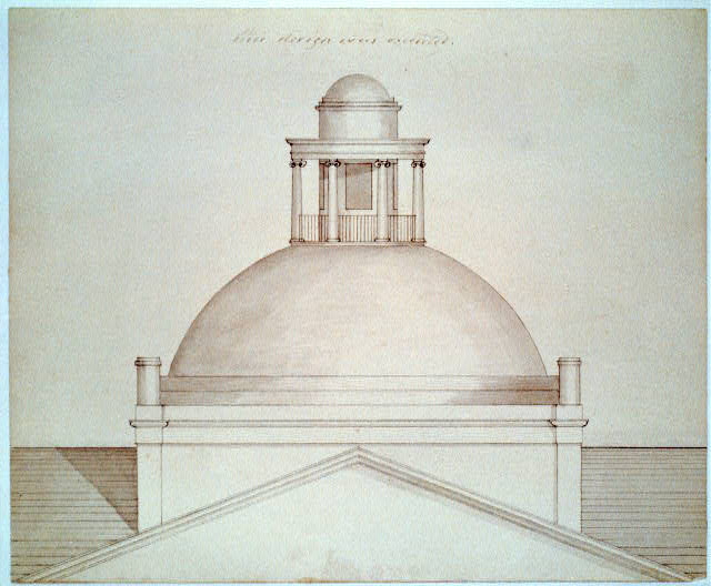 State capitol building (Maine State House), Augusta, Maine. Plan of octagonal drum.  Drawing by Charles Bulfinch, architect, circa 1829.