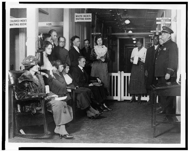 Group of federal employees waiting for treatment at the Public Health Service Dispensary #32, which has recently been opened for the exclusive benefit of government workers (between 1909 and 1932)